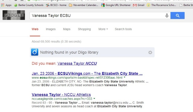 Really Google!? Not many accounts of Vanessa Taylor's tenure at ECSU.